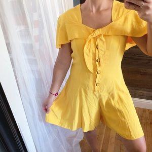 Vintage Beau Monde Yellow Flutter Sleeve Romper